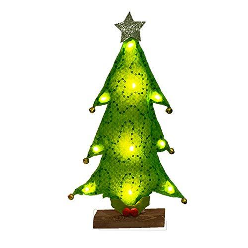 ACELEY Decoraciones para árboles de Navidad, Mini Luces LED para árboles de Navidad, Adornos de Mesa para árboles de Navidad, Regalos para niños, Amigos, familias (Verde)