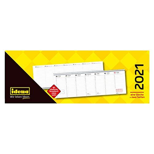 Idena 10874 - Tischkalender 2021, im Format quer, aus FSC-Mix, 1 Woche = 2 Seiten, 1 Stück