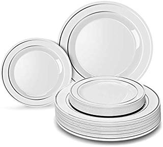 Heavyweight Disposable Plates for Party - 30 Dinner Plates + 30 Desert Plates.White Plastic Wedding Plates with Silver Rim Disposable Plates 60 PC. Real China Design Disposable Plates Set for Parties.