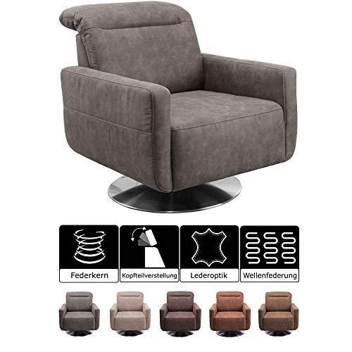 CAVADORE Drehsessel Gizmo / Drehbarer Sessel in Lederoptik mit Kopfteilverstellung und Federkern / 78 x 86 x 100 / Mikrofaser, anthrazit