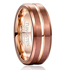 DETAILS: Classic 8mm Brown Matte Finish Thin Rose Gold Line Beveled Edge Comfort Fit Wedding Band MATERIAL: Genuine Tungsten Carbide, Durable and Scratch-Resistance. FREE RING BOX: Free Nuncad Velvet Ring Box, Saves Your Giftwrap Service Fee and Help...
