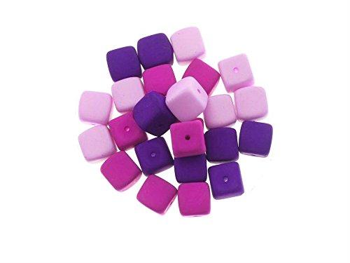 Creative-Beads glasparels dobbelstenen 8 mm, mat, 24 stuks, Colormix, decoreren, knutselen, sieraden zelf maken lila
