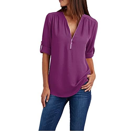 Tops Mujer Elegante Moda Color Puro Verano Sexy Cuello V Mujeres T-Shirt Collars Diseño Único Cremallera Manga Larga Diario Casual Suelta Mujer Shirt B-Purple S