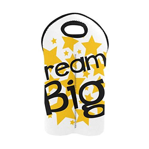 Cartera de vino Dream Big Star Label Sign Star Picnic Bolsa de vino Portabotellas doble Bolsa de vino para viajes Soporte de botella de vino de neopreno grueso Mantiene las botella