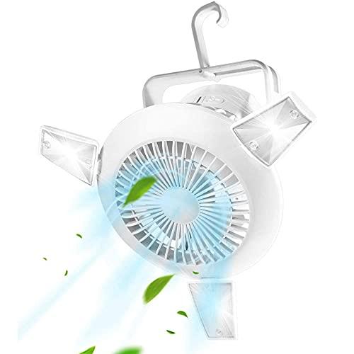 Energía solar Luz Camping LED +USB Ventilador Colgar Portátil Iluminación exterior Mini Ventilador Mesa Silencioso con Recargable, Enfriamiento para Camping/Coche/Oficina/Aire Libre 4 viento 2 luz