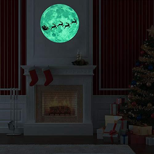 Elke leampp 11.8''/30cm Glow In The Dark Moon Wall Art Stickers - Nacht Licht Gloeiende Muursticker Met Verwijderbare Lijm Voor Slaapkamer Party Decor Speelkamer Kinder Speelkamer Baby Kinderkamer Of Klas