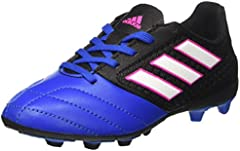 adidas Ace 17.4 FxG J, Botas de fútbol Unisex Adulto, Negro (Core Black/Footwear White/Blue), 38 EU