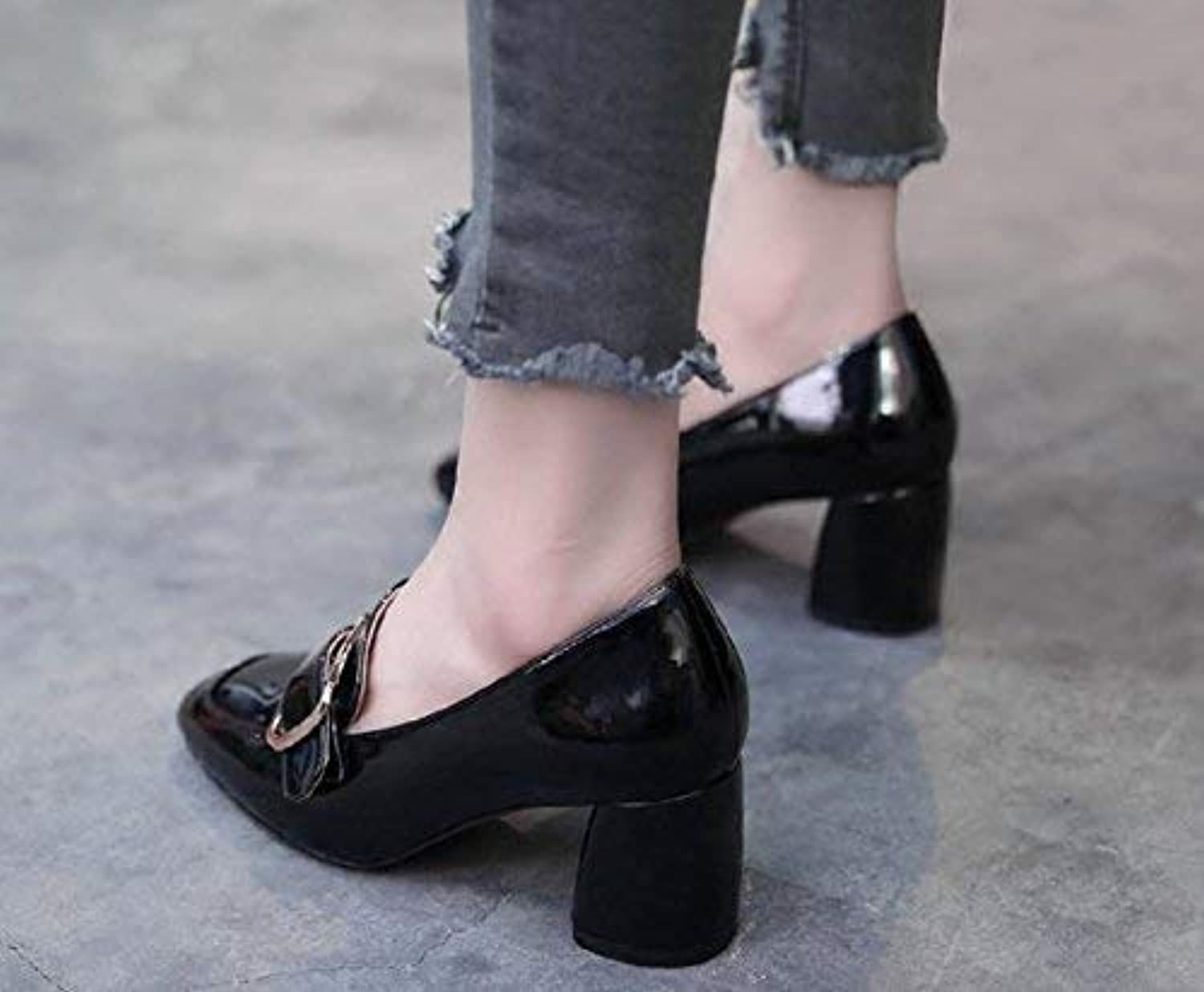 Lady Classic Womens Buckle Single shoes Square High Heeled shoes with Thick Casual shoes Quality Super Elegant Wild for Women Brown Black