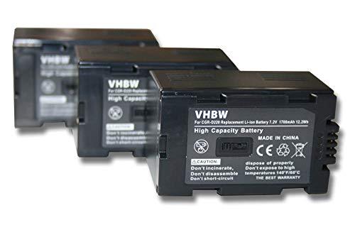 vhbw 3X baterías reemplaza Hitachi DZ-BP16, DZ-BP28 para cámara de vídeo, videocámara (1700mAh, 7,2V, Li-Ion)