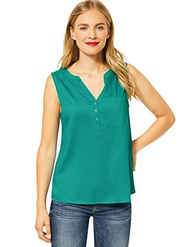 Street One Damen 342061 Solid blousetop w Splitneck Bluse, Pool Aqua, 36