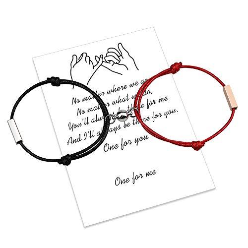 Pulsera magnética personalizada para parejas, cuerda hecha a mano de atracción mutua grabada para 2 pulseras trenzadas a juego, regalo de San Valentín (Nero rosso)