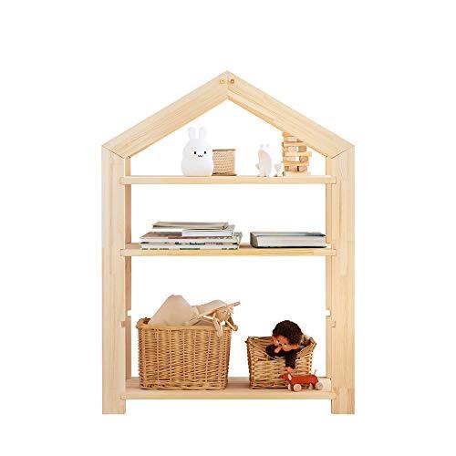 Selsey Jafari - Estantería Infantil en Forma de casa de Pino con 3 estantes, 94,8 x 73 x 40 cm