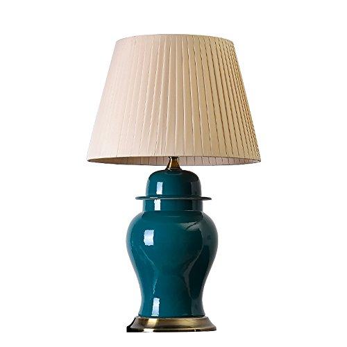 LIU UK Table Lamp Kreative Keramik Dose Schreibtischlampe amerikanischen minimalistischen europäischen Stil Retro Malachit grün Nachttischlampe, E27 * 1, für Wohnzimmer Studie (Farbe : Beige)