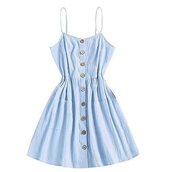 ZAFUL Women s Mini Dress Spaghetti Straps Sleeveless Boho Beach Dress  XL Light Blue-Button