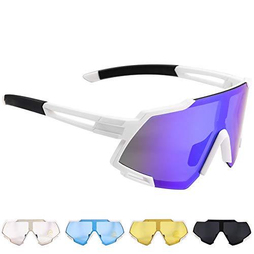 Occhiali da Sole Sportivi Polarizzati,CrazyFire Grande Schermo Occhiali Ciclismo Anti-UV 400 Protezione Occhiali da Sole con 5 Lenti Intercambiabili, Uomo Donna per Corsa, Moto, MTB e Running