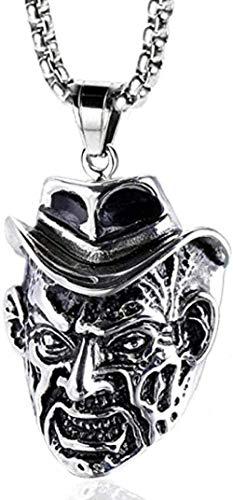 LKLFC Collar para Mujer Collar para Hombre Colgante Collar de Calavera de Acero Inoxidable exagerado Mago con Colgante de Acero de Titanio Collar Colgante Regalo para niñas Niños