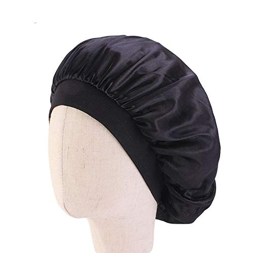 MoonyLI Children's Silk Satin Sleeping Beanie, Wide-Brimmed Nightcap Hair Care Head Cover Cap Nightcap Unisex