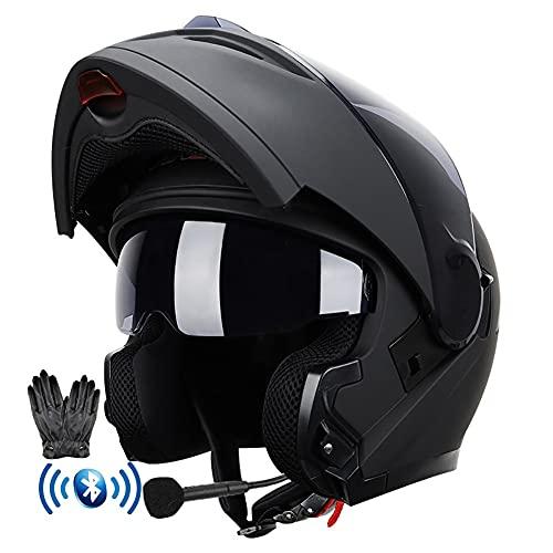 Bluetooth Integrado Casco Moto Modular con Doble Anti Niebla Visera Casco de Motocicleta ECE Homologado a Prueba de Viento Guantes Gratis para Hombres Mujeres 59-64CM