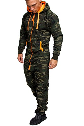 Amaci&Sons Herren Overall Jumpsuit Jogging Onesie Trainingsanzug Camouflage 3001 Camo Khaki L