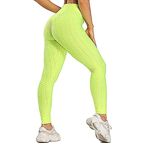QTJY La Aptitud de Las Mujeres se Divierte los Pantalones Apretados de la Yoga del Telar jacquar, Pantalones de Cintura Alta de los Deportes anticelulíticos para Correr al Aire Libre AS