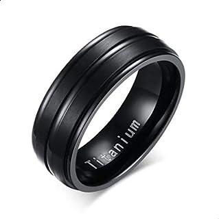 خاتم للجنسين من التيتانيوم القوي لون أسود