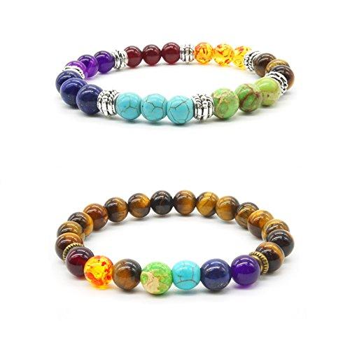 2 pcs Pierre Naturelle Oeil de Tigre Bracelet de Yoga Reiki Charme 7 Reiki Chakra Stretch Bracelet