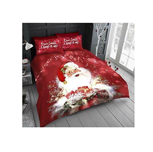 Fashion Hub Christmas Santa Duvet Cover Pillowcases With Pillow Case Xmas Printed Bedding Set (Santa With Presents Single)