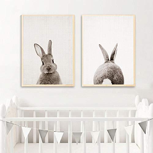 Negro, blanco, bebé, animal, conejo, cola, att, lienzo de imagen, lámina y póster Nursery Bunny, lienzo, decoración para habitación de niños, 50x70cmx2 sin marco