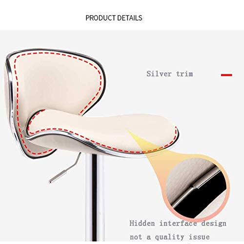 PIVFEDQX Bar Stool Dining Chair Bar Stools Bar Chairs Breakfast for Kitchen Counter Bar Stools Leatherette Exterior Adjustable Swivel Gas Lift Chrome Steel Footrest Base (Color : White)