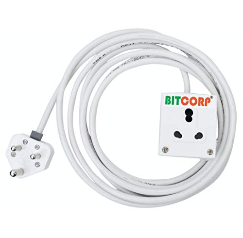 BITCORP Extension Board 1 Single Socket 15A 16A 8 Meter 2.5 mm Long Wire Cable Cord With 15 16 Amp Power Plug