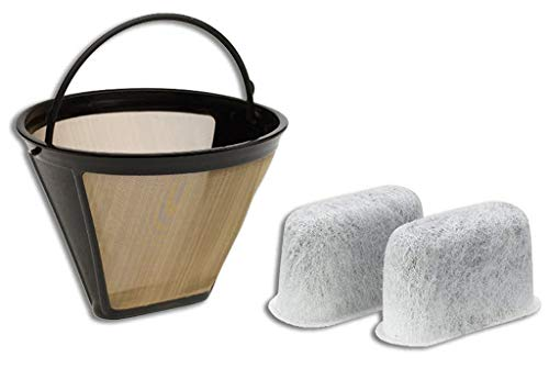 Filters For Cuisinart Coffee Maker - GTF Gold Tone Filter & 2 Charcoal Water Filters