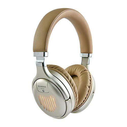 SFBBBO Auriculares Auriculares inalámbricos Bluetooth Auriculares plegados Estéreo de Alta fidelidad Soporte para Juegos Tarjeta FM SD para PC y teléfonomóvil Oro