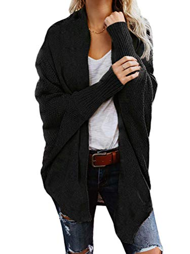 Onsoyours Strickjacke Damen Grobstrick Strickmantel Herbst Winter Cardigan Lange Ärmel Solid Color Casual Mantel Pullover Coat Open Front Sweater Schwarz 46