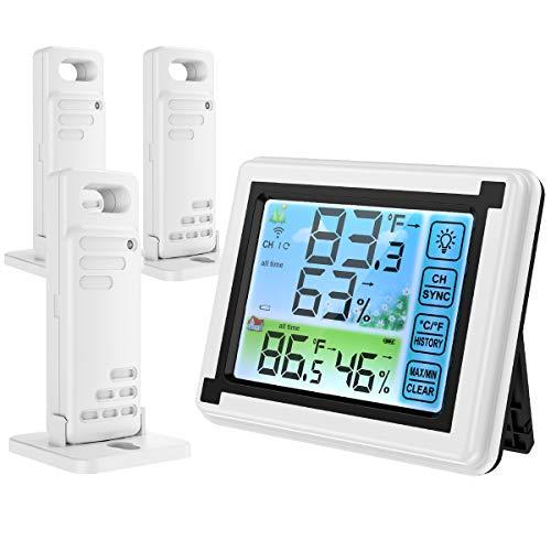 ORIA [Neu] Thermometer Hygrometer Innen Außen, Thermo-Hygrometer mit 3 Außensensor, Hintergrundbeleuchtung LCD-Farbbildschirm, MIN/MAX-Aufzeichnungen, °C/°F-Schalter für Zuhause, Büro, Gewächshaus