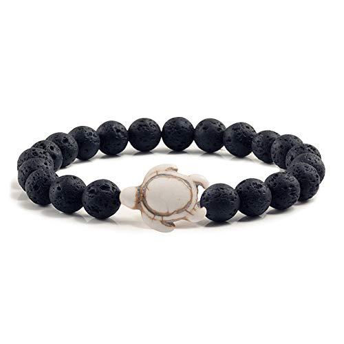 GROPC Beaded Bracelet,8Mm Natural Black Volcanic Stone Beads Bracelets,Bohemian Charm Sea Turtle Bracelet,Summer Beach Yoga Bangles/With Gift Box,Beige
