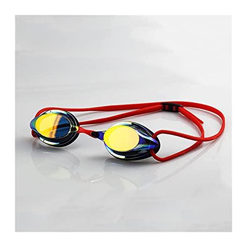 SRXSMGS Gafas natación Anti-Niebla, Impermeable y a Prueba de UV Gafas de natación de Silicona a Prueba de UV. Gafas de natación Profesional para Hombres y Mujeres (Color : Red)