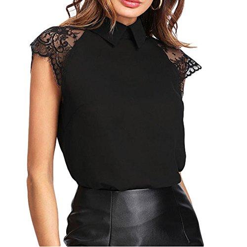 LuckyGirls Tee Shirts Femme Chic Mousseline Fleur Dentelle Patchwork Haut Épaules Nues Tops Décontractée Loose Blouse T-Shirts - Maxi - 5XL (M, Noir C)
