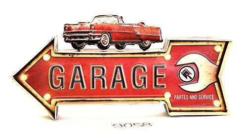 DiiliHiiri Cartel Retro Luminoso Garage Vintage Letrero Metálico Artesania Accesorios Decoración Hogar (Garage)