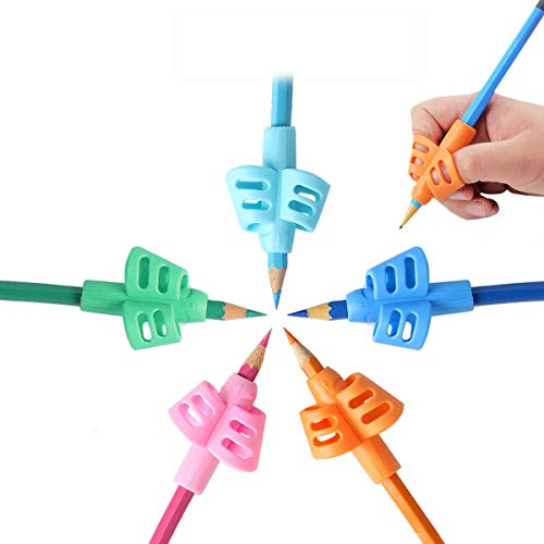 Mlife Pencil Grips - 5PCS Children Pencil Holder Writing Aid Grip Trainer, Ergonomic Training Pen Grip Posture Correction Tool for Kids (Set of 5PCS)