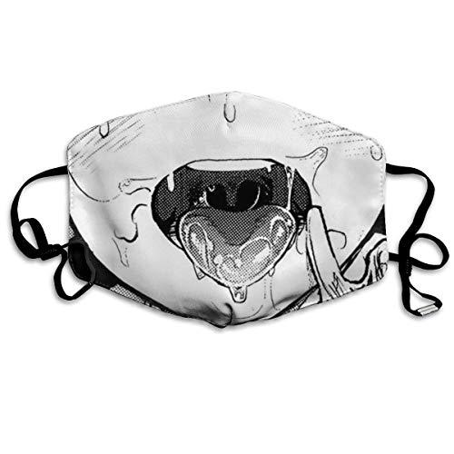 Ha99y Ahegao Gesicht Anime Cosplay Unisex Winddichte und staubdichte Mundschutz, Face Shield mit verstellbarem Gummiband