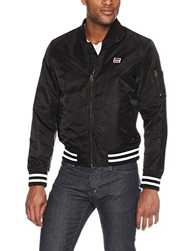 Levi's Men's Retro Varsity Bomber Jacket, Black, Medium