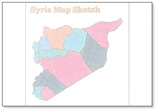 Syria Map Sketch Illustration Koelkast Magneet