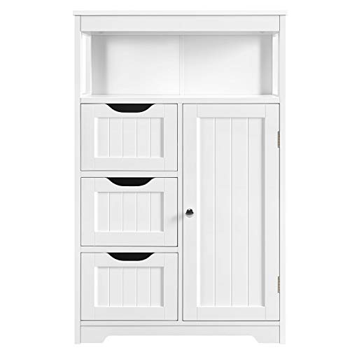 Yaheetech Bathroom Floor Cabinet Wooden Storage Organizer with 1 Door and 3 Drawers, Free-Standing Cupboard for Kitchen/Living Room/Bathroom Use, White