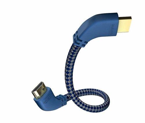 inakustik – 00425015 – Premium High Speed HDMI 2.0a Kabel mit Ethernet | Mit gewinkelten Steckern für platzsparenden Anschluss | 1,5m in Blau/Silber | 2160p - Audio Return Channel - HD Audio