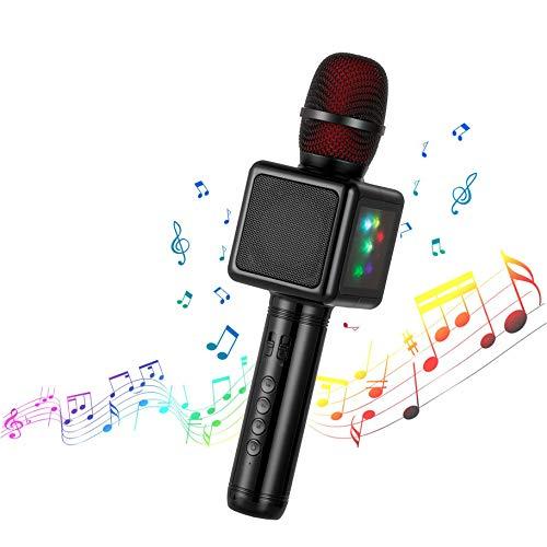 Microfono Karaoke Bluetooth Wireless, Cocopa Microfono Bambini Senza Fili Adulti con Altoparlante, Microfoni Wireless Disco Light per Cantare Partito Compleanno Regalo per Android iOS PC Smartphone