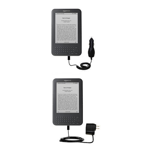 Essential Kit for The Amazon Kindle Latest Generation (Wi-Fi Free 3G 6in. 9.7in.) Includes a Car and Wall Charger
