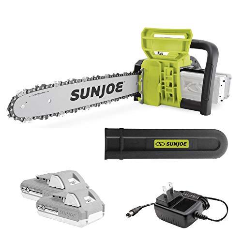 Sun Joe 24V-X2-CS16 16-Inch 48-Volt 4.0 Cordless Chain Saw, Kit (w/ 2 x 2.0-Ah Batteries + Quick Charger)