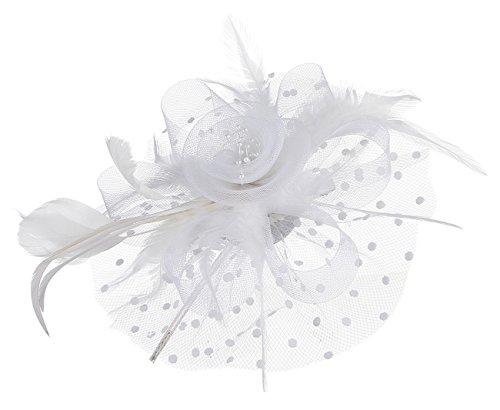 GEMVIE Damen Vintage Fascinator Clip mit Federn Haarreif Haarschmuck Blumen Hochzeit Weiß