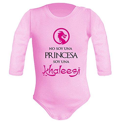 Body bebé unisex No soy una princesa, soy una Khaleesi (Juego de tronos - parodia). Regalo original. Body bebé divertido. Manga larga. (3 meses, Rosa)