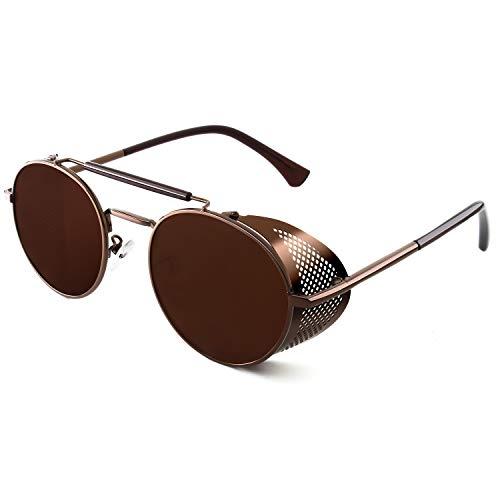 CGID E92 Steampunk estilo retro inspirado crculo metlico redondo gafas de sol polarizadas para hombre mujer Marrn